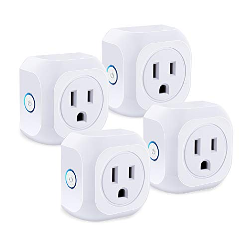 Wifi Smart Plug, SZBOLYC 4 Pack Mini Smart Wifi Outlet Compatible with Amazon Alexa and Google Assistant Timer Function Remote Control Your Home Appliances, No Hub Required, FCC CE Certificated, White