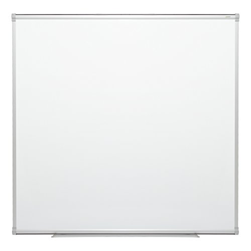 Learniture 4'x4' Porcelain Steel Magnetic Dry Erase Board w/Aluminum Frame & Map Rail - Steel Dry Erase