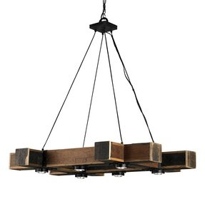 Currey and Company 9429 Dockyard - Six Light Chandelier, Blacksmith/Natural Finish