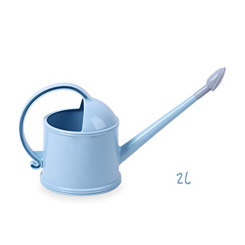 Calunce Tradition Watering Can Long Spout 2 Liters Watering Can/Easy to Water The Flowers 0.5 Gallon (No Pattern Blue)