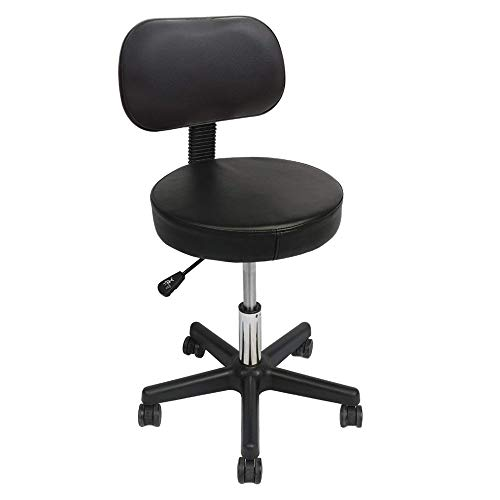 Round Drafting Stool - Swivel Leather Rolling Chair- Adjustable Height with Back, Thick Seat Cushion for Workshop, Spa, Massage, Hair Salon (Black)