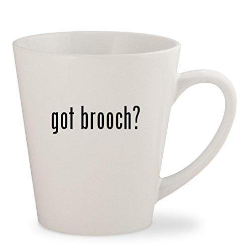 Trifari White Brooch (got brooch? - White 12oz Ceramic Latte Mug Cup)