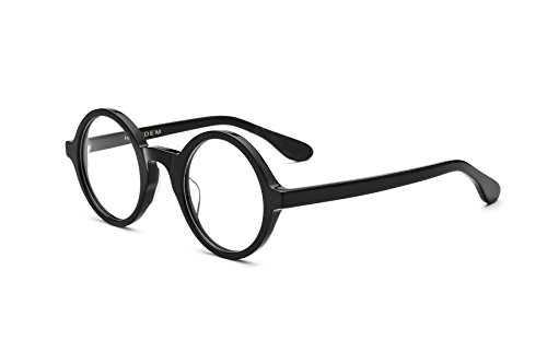 HEPIDEM Acetate Men Vintage Round Optical Glasses Frame Spectacles Eyeglasses (Zolman,Black)