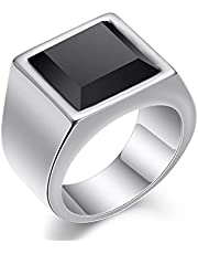silver stainless steel ring with black center for men