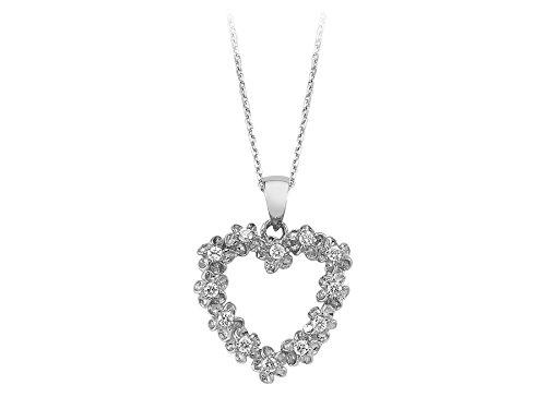 Pendentif Coeur de Diamants-Femme- or Blanc 204P0087