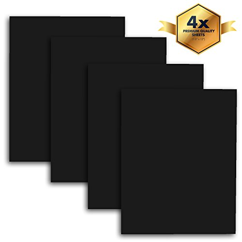 "MiPremium PU Heat Transfer Vinyl, HTV Black Iron On Vinyl 12"" x 10"" (4 x Sheets), for T Shirts Sports Clothing & other garments and fabrics, Easy Cut, Easy Weed & Press black htv vinyl (Black)"