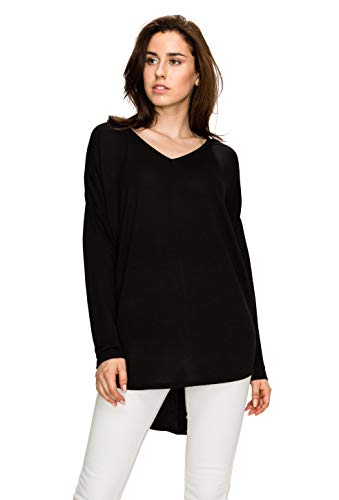 - MBJ WT1904 Womens V Neck Long Sleeve French Terry High Low Loose Top XL Black