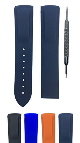 20mm 22mm Rubber Watch Band Strap for Seamaster Planet Ocean | Free Spring Bar Tool (20mm, Dark -