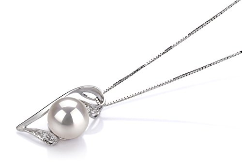 Blanc 7-8mm AAA-qualité Akoya du Japon 585/1000 Or Blanc-pendentif en perles