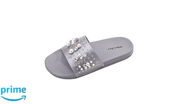 Mila Lady Womens Summer Anti Skid Fuzzy Slides Sandals