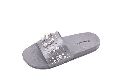 Womens Slides Ashley - Ashley A Collection Sandy Women's Fashion Slipper with Pearl and Rhinestone Upper Slip On Silky Slide Sandal, GRAY6
