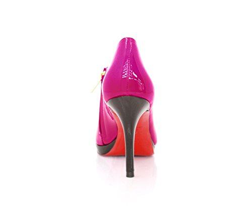 Centímetros Ankle Boots Stiletto Boots Couro 9 De Fúcsia Ankle 0zOwqx