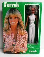 1977 Farrah Fawcett Fully Poseable Fashion Doll Vintage Barbie White Halter Jumpsuit - Farrah Fawcett Doll