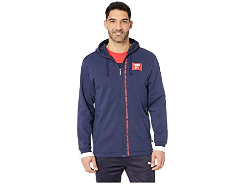 PUMA Men's Rebel Block Full Zip Hoodie Fleece Peacoat Small