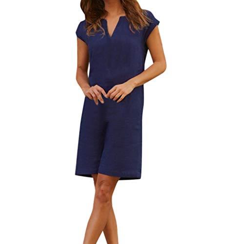 Fitfulvan Women's Straight T-Shirt Dress V-Neck Solid Easy Fitting Mini Skirt Loose Casual Nightdress Pajamas Dark Blue ()