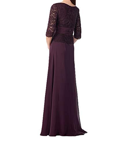 Charmant Damen V Promkleider Chiffon Abendkleider Langarm Traumhaft 3 Rock Festlichkleider mit Dunkel Ausschnitt 4 Fuchsia ffqpRrd