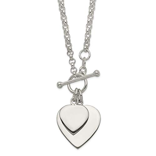 - 925 Sterling Silver Double Heart Toggle Chain Necklace Pendant Charm S/love Fine Jewelry For Women Gift Set