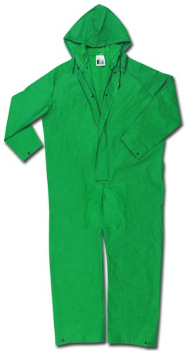Green Coverall - MCR Safety 3881XL Dominator PVC/Polyester Coverall, Green, X-Large