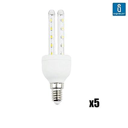 Aigostar - Pack de 5 bombillas led t3 2u de 4 watios, casquillo fino (