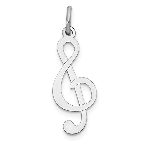 (Solid 14k White Gold Polished Treble Clef Pendant Charm (8mm x 25mm))