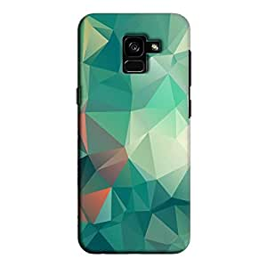 Cover It Up - Green Pixel White Triangles Samsung Galaxy A5 2018 Hard Case