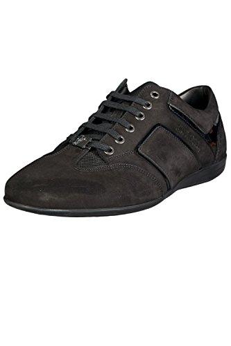 Versace Collection Mens Suede Vc Logo Lage Top Sneaker Schoenen Zwart