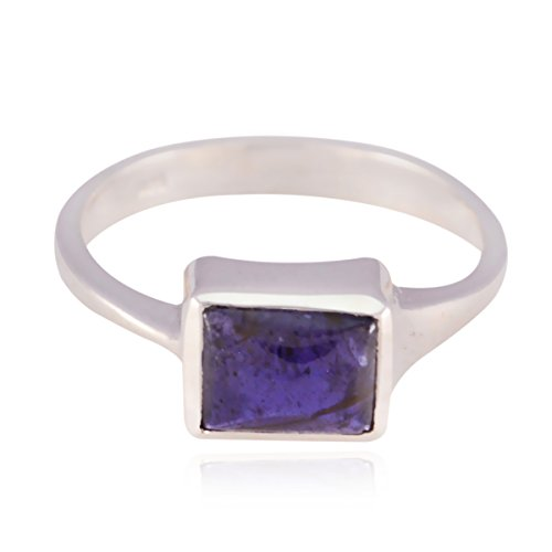 RGPL-Lovely Gemstones Octagon cabochon Iolite Rings - 925 Sterling Silver Blue Iolite Lovely Gemstones Ring - Designer Jewelry fine Item Gift for Friends Stackable Ring