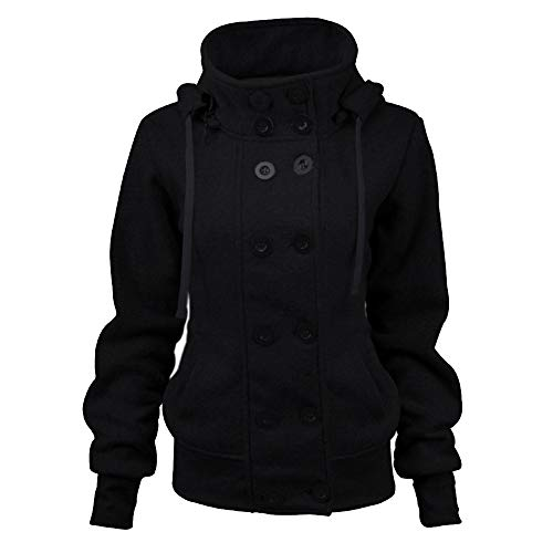 Limsea Women Jacket Outwear Long Casual Warm Double-Breasted Hooded Drawstring Solid Color Button Large Black ()