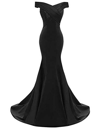 - yinyyinhs Women's Evening Dress Off Shoulder Ruffles Mermaid Formal Prom Gowns Size 8 Black