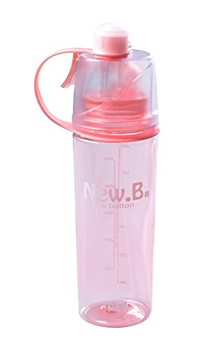 Sport Spray Bottle, Bodecin Creative Portable Leakproof Cooling Spray Bottle of Sports Outdoor Ecological Plastic Cup Double Function for Cycling Hiking Running Camping (Pink, 600ML)