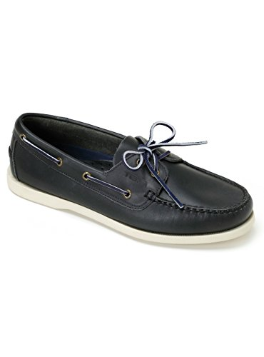 TOIO PREMIER BOAT SHOE - Handcrafted 100% leather rubber sole with anti-slip tread… Navy