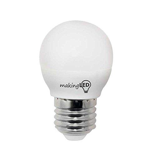MakingLED Bombilla LED Esférica con Luz Neutra E27, 4 W, (4200K), 4.5 x 7.5 cm: Amazon.es: Iluminación