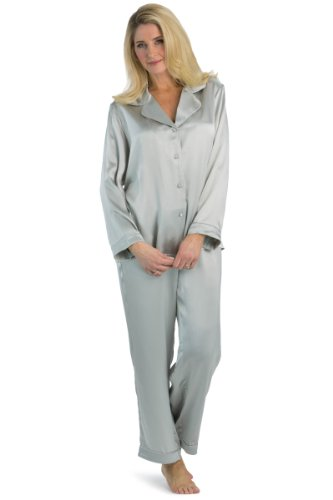 Fishers Finery Women's Classic Pure Mulberry Silk Pajama Set with Gift Box, Silver Pearl, Medium