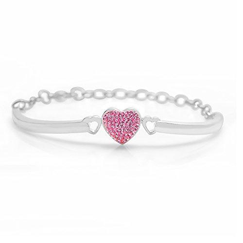 Kids Pink Heart White Gold Toned Bangle Bracelet Set on a Clay Base Kids, - Toned Set Bracelet