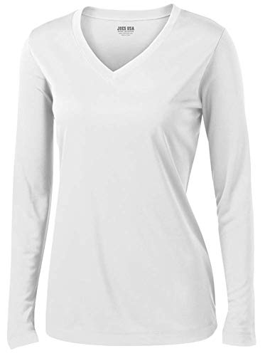 (Joe's USA - Ladies Long Sleeve Moisture Wicking Athletic Shirts, White Small)