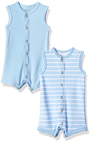 Hanes Ultimate Baby Flexy 2 Pack Sleeveless Rompers, Blue Stripe 6-12 Months