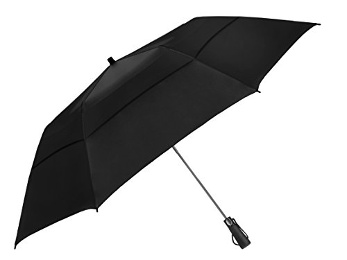EEZ-Y 58 Inch Folding Golf Umbrella with Large Windproof Double Vented Canopy - Strong Oversized Portable Family Umbrella - Foldable to just 23 inches
