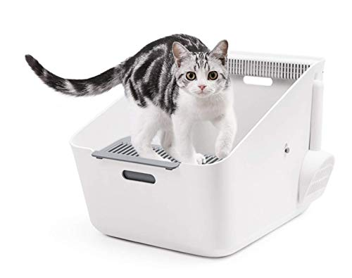 Domie Cat Litter Box, Detective Deodorizing Cat Litter Box with Smart Odor Eliminator and Open-Topped Design-Easy to Clean by PETKIT