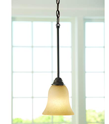 .5-in Aged Bronze Craftsman Single Etched Glass Bell Pendant ()