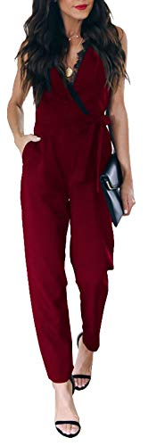 Longwu Womens Sexy Deep V Neck Lace Sleeveless High Waist Belted Jumpsuit with Pockets Wine Red-S