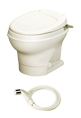Aqua-Magic V RV Toilet Hand Flush with Hand Sprayer / Low Profile / Parchment - Thetford 31658 by Thetford