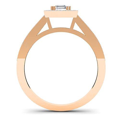 0.50 Carat (ctw) 14K Gold Princess & Round Diamond Ladies Halo Style Bridal Engagement Ring 1/2 CT