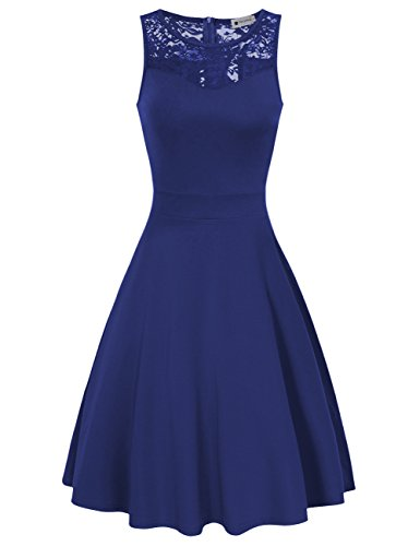 Women A Line Dresses Sleeveless Lace Floral Cocktail Dresses Blue (Rehearsal Dinner Dress)
