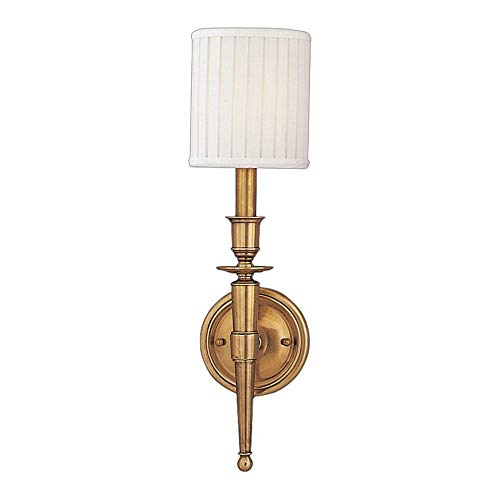 Brass One Light Wall Torch - Hudson Valley Lighting 4901-AGB One Light Wall Sconce from The Abington Collection, 1, Aged Brass