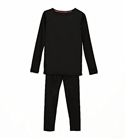 Cuddl Duds Girls Long Sleeve Crew Neck and Pant Thermal Set-Black, S (6-6x)