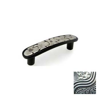 Anne at Home 7201-7.8 Bloom 3 in. Pull in Black with Bright Pewter