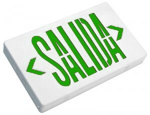LED Salida Exit Sign Green Letters
