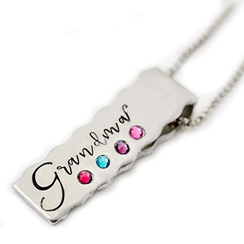 Personalized Birthstone Necklace for Grandma or Mom, Custom Grandmother's Birthstone Jewelry