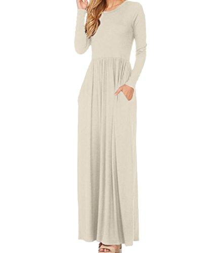 Cocktail Solido Lunghe Comodi Dress Slim Maniche Spiaggia A Womens Maxi Pattern9 Girocollo Fz1xSx