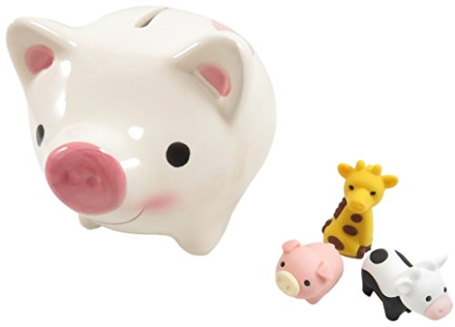 Smile Face Heart Erasers (Piggy Bank Ceramic White with Mini Puzzle Erasers Pig Cow Giraffe (4 Piece Set))